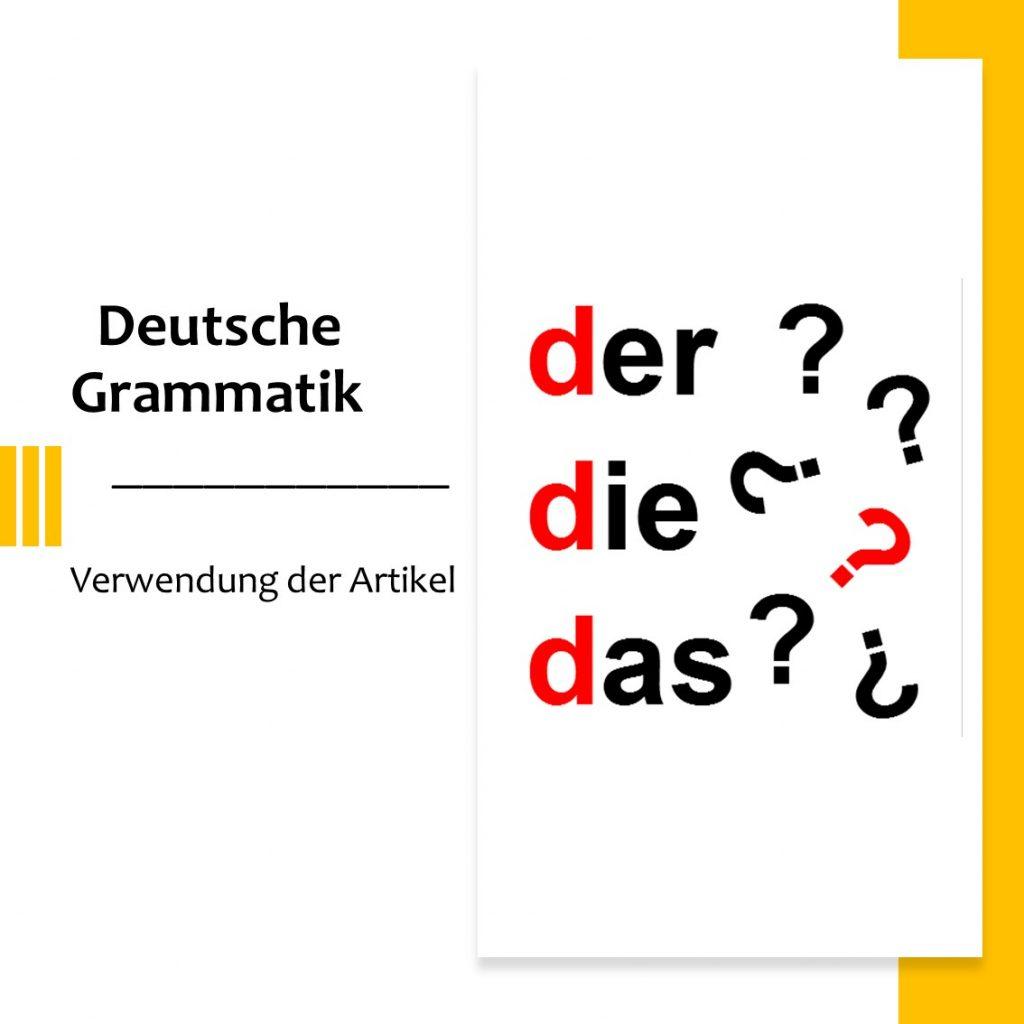 Artikel im Deutschen DER DIE DAS